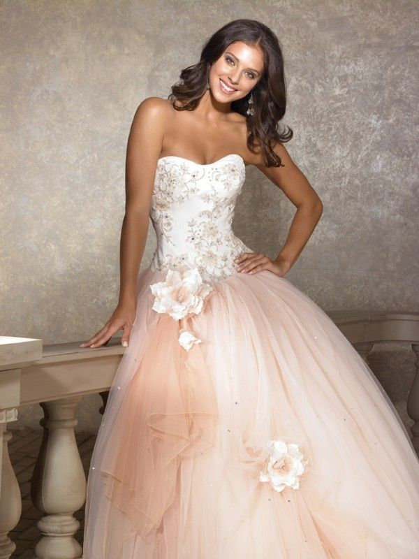Ball Gown Sweetheart Hand-made Flower Floor-length Sleeveless Tulle Quinceanera Dresses JollyProms