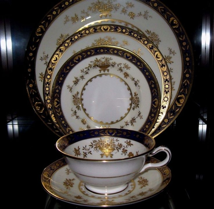 40 pc Minton Dynasty Cobalt Blue Dinner Set for 8 Bone ...