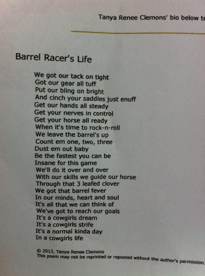 My Own! 2nd #barrelracer #poem that has gotten published!
