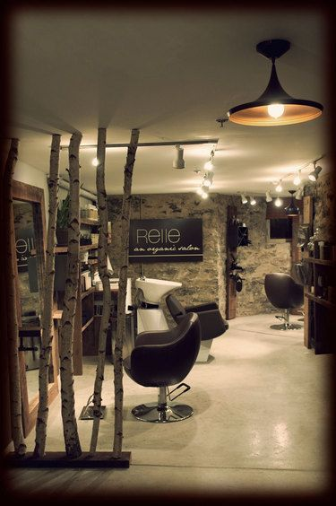 Relle (an organic salon) - rustic decor I would not do the trees but I love bringing the outdoor elements indoors
