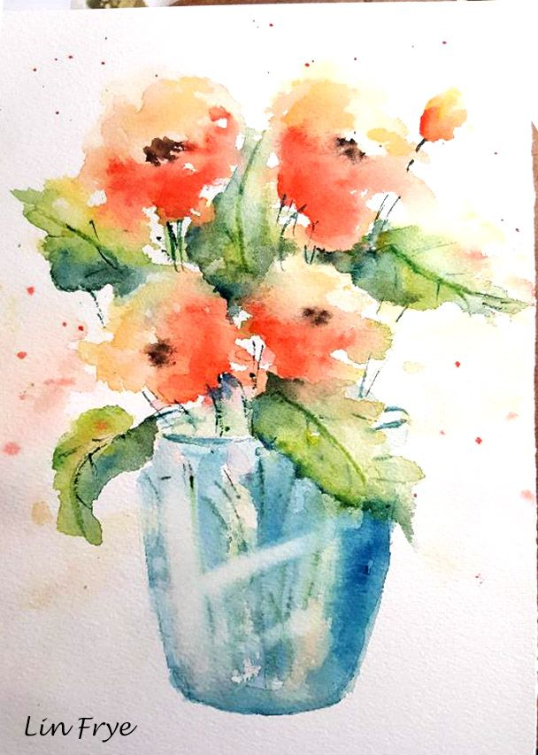 Flowers And Blue Vase Watercolor Flowers Painting Crafts Blue Vase