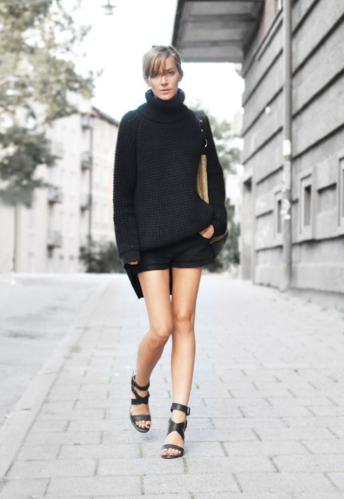 sweater/shorts/sandals