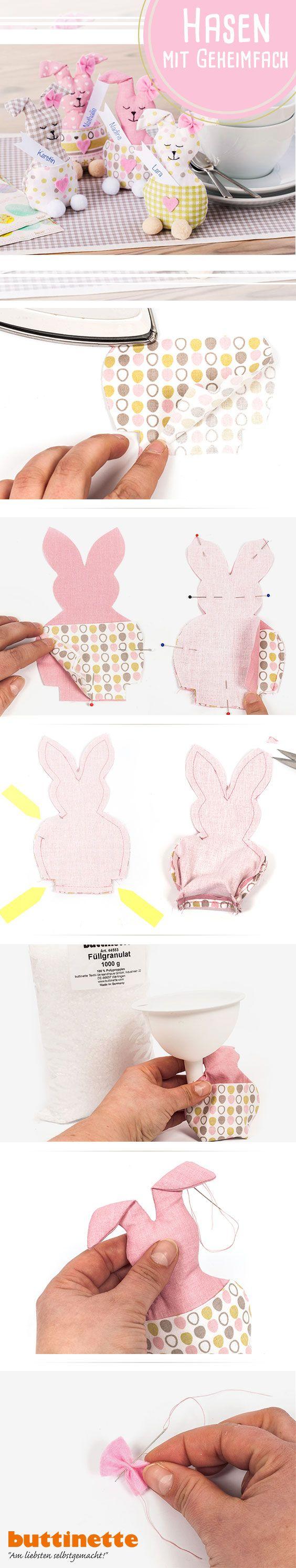 Osterhasen als Tischdeko, Platzkärtchen oder Geldgeschenk!   #Nähen #Ostern #Schnittmuster #kostenlos #Anleitung #Osterhase #DIY #Tutorial #Tischdeko #Osterfrühstück #pattern #free #buttinette