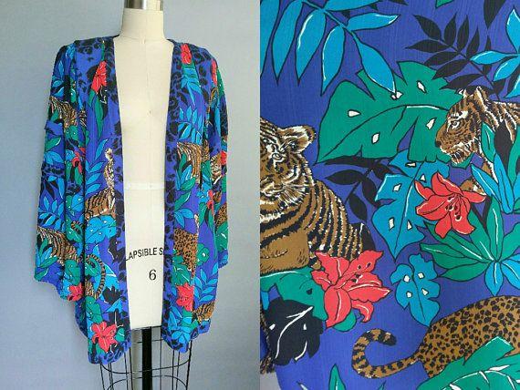 queen of the jungle / diane freis jungle print kimono / blouse