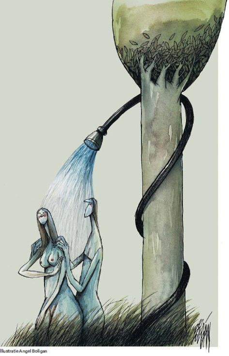 Illustratie van Angel Boligan in NRC Handelsblad