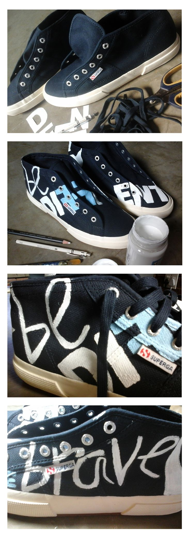 """This super epic project was done for a friend as part of a team-building drive at a major corporate. Each staff member had to do something out of the norm  to show off their individualism during the """"Be Brave! Be Different!"""" drive, so he decided to wear these hand-painted sneakers with all his designer suits."""
