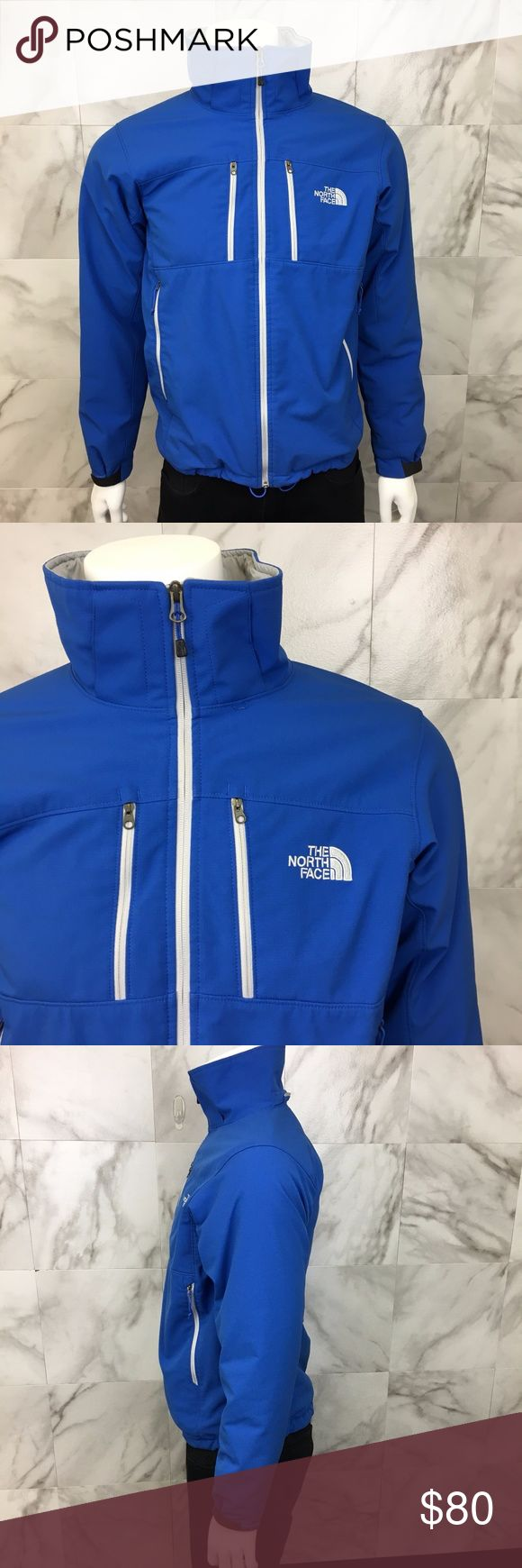 "The North Face Mens Ski Coat size S Lined blue The North Face ski coat jacket. High collar. 2 chest pockets. 2 side pockets. Adjustable sleeve ends. Full front zipper.  Size: small  Length: 27""  Chest: 40""  Sleeve length: 26""  Shoulder width: 18""  Material: 100% polyester  Color: Blue  Condition: Great pre-owned condition. Normal signs of light wear. Missing hood. The North Face Jackets & Coats Ski & Snowboard"
