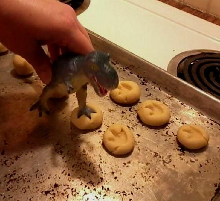 Click on photo for larger picture ....Dinosaur Footprint Cookies ! Using your favourite cookie recipe , ( sugar cookies, peanut butter cookies etc ) , add some footprints for the kids or grandkids... they will love it ! Found on i.imgur.com