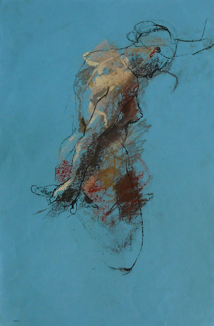 Caroline Deane | balance . pastel on japanese paper Quick outlines captures the anatomy correctly, then filled with just the most necessary blotches of colour indicating the darker sides of the figure.