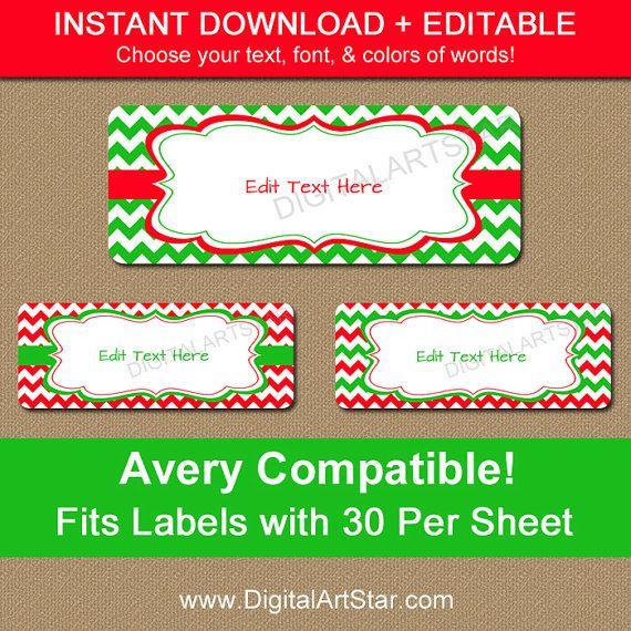 printable christmas address labels editable holiday address labels xmas return address label. Black Bedroom Furniture Sets. Home Design Ideas