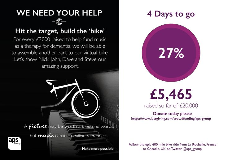 COUNTDOWN is on #APSTour starts on Sunday! Our MD Nick & 3 colleagues are cycling over 600 miles to raise money for music as a therapy for dementia. Please donate here bit.ly/apstour