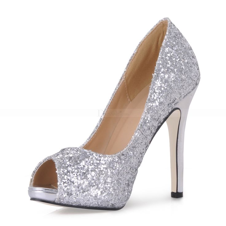 exquisite silver peep toe pump with sequins