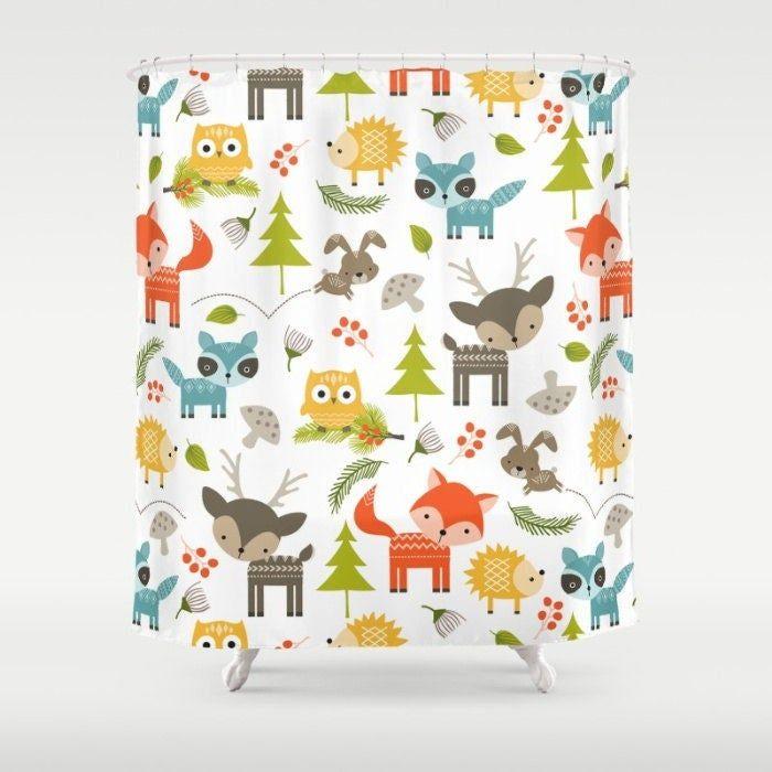 Woodland Animals Shower Curtain Forest Animals Shower Curtain