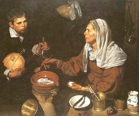Diego Rodriguez de Silva Velázquez (Velásquez) (1599 - 1660)  An Old Woman Cooking Eggs
