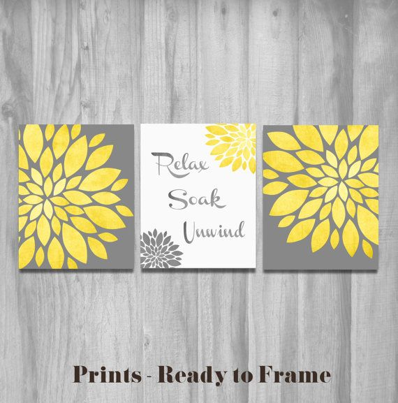 Bathroom Wall Art Set Prints Vintage Modern Relax Soak Unwind Flower Prints Home Decor Yellow Gray CUSTOM Word Art on Etsy, $32.00