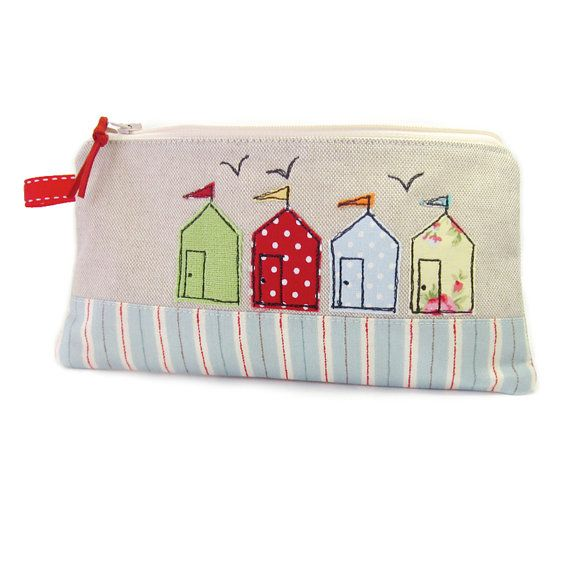Pencil Case, Large Pencil Case, Beach Huts, Seaside Pencil Bag, Back to School, Cute Pencil Case, Girls Pencil Case