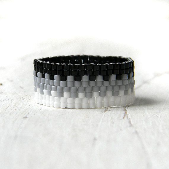 Peyote ring band ring monochrome ring minimalist by Anabel27shop