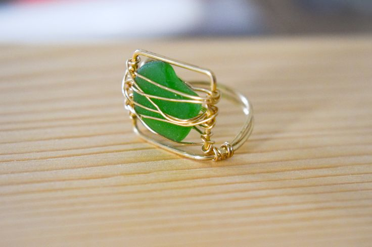 SUMMER SALE! Framed genuine greek green sea glass wire wrapped with gold brass wire, summer ring, beach ring, statement ring, boho ring by Christinasfamily on Etsy