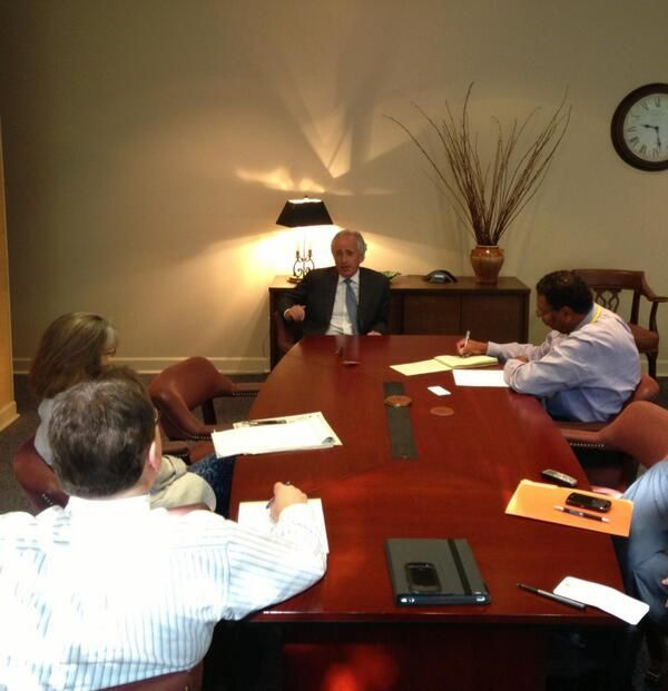 Sen. Bob Corker, R-Tenn., (@SenBobCorker): PHOTO: Senator Corker is in Memphis meeting with the @Commercial Appeal editorial board on a wide range of topics. pic.twitter.com/elvUF6awt1