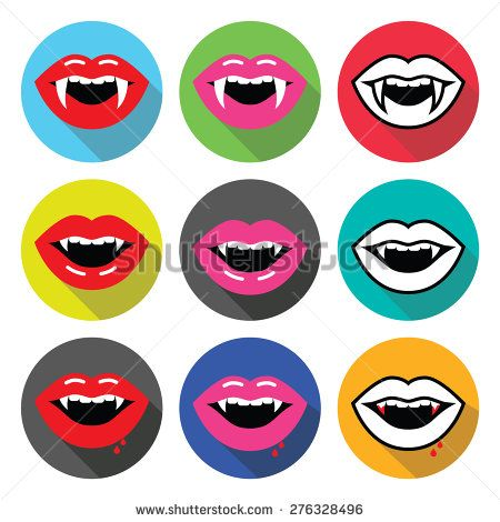 Vampire mouth, vampire teeth vector flat design icons set by RedKoala #halloween #horror
