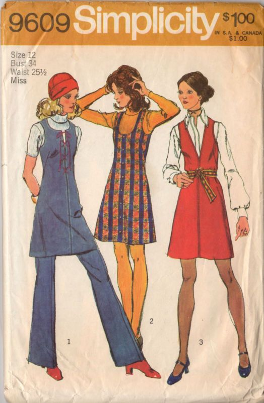 Vintage 1970s Ladies Jumper Dress and Bell Bottom Pants Simplicity Sewing Pattern 9609 Bust 34 - Avid Vintage - 1