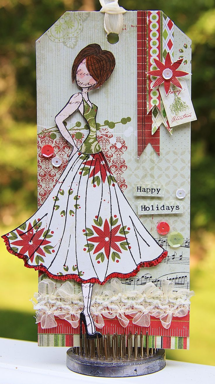 """Christmas in July Tag using Julie Nutting's Doll Stamp """"Jaclyn""""."""