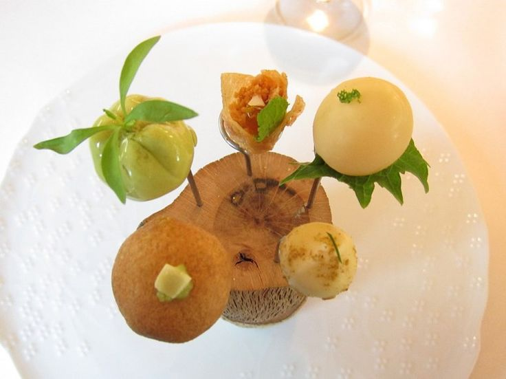 An appetizer at El Celler de Can Roca in Spain features the flavors of Mexico, Peru, Libya, Morocco, and Korea. Each of these exploded with waves and variations of flavor and liquid in our mouths.