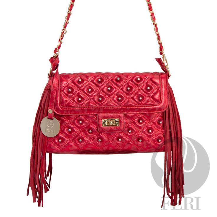"FERI Day2Day - Celeste - Purse - Red  - Red quilted metallic shine fabric bag - PU Leather fringe - Gold toned chain shoulder strap braided with matching fabric - Embellished with white stones - Twisting clasp closure with zipper - Gold toned customized FERI hardware - Custom FERI lining with zippered pouch and cellphone pockets - Dimension: 12.0"" x 6.5"" x 3.9"" (Width x Height x Depth)   www.gwtcorp.com/ghem or email fashionforghem.com for big discount"