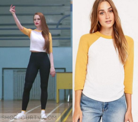 "Riverdale: Season 1 Episode 10 Cheryl's Yellow White Tee | Cheryl Blossom (Madelaine Petsch) wears this white and yellow raglan tee in this episode of Riverdale, ""The Lost Weekend"".  It is the Urban Outfitters 70s Baseball T-shirt."