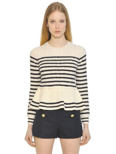 RED VALENTINO Striped Cable Wool Knit Peplum Sweater, White/Navy. #redvalentino #cloth #knitwear