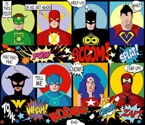SUPER FABRIC HEROES fabric by chicca_besso on Spoonflower - custom fabric
