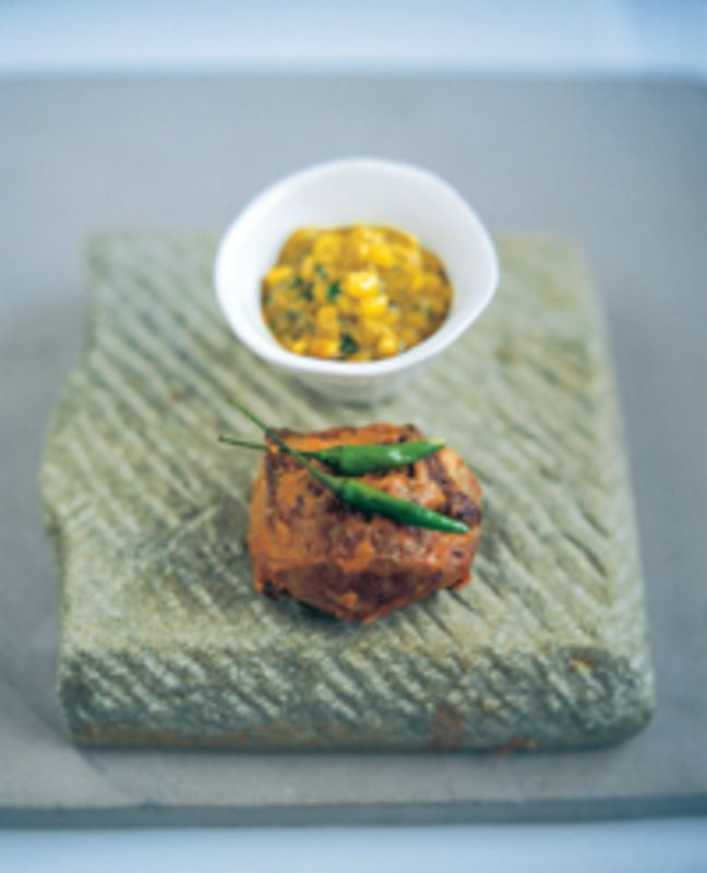 Rajasthani roast rack of lamb with corn sauce recipe by professional chef Vivek Singh