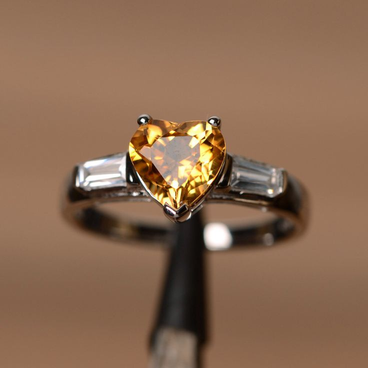 Awesome natural citrine ring heart cut engagement ring with baguette sterling silver ring with white gold plated