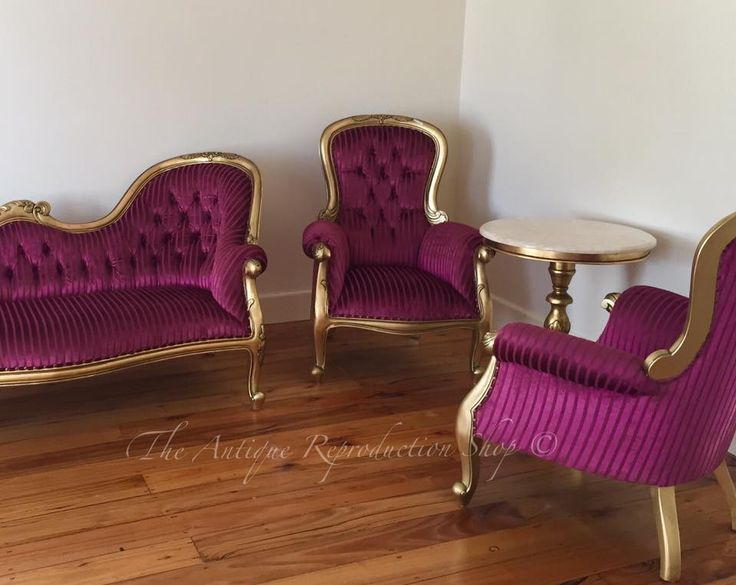 Deep pink. Bright Pink upholstered furniture with gold finish. Armchair and chaise lounge