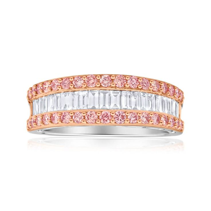 Unusual Pink argyle and White baguette Diamond Wedding Ring in 18ct Gold