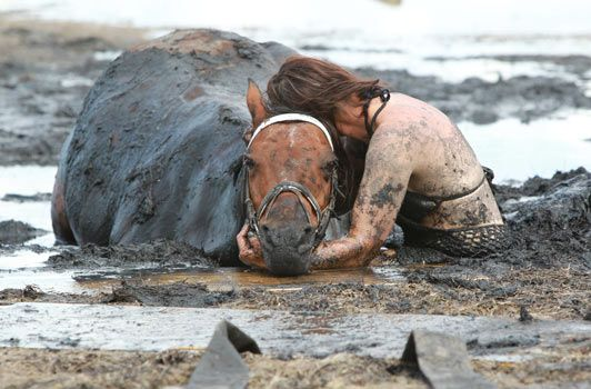 she stayed with her horse for 3 hours, holding his head above the rising tide while being rescued. now that's true love