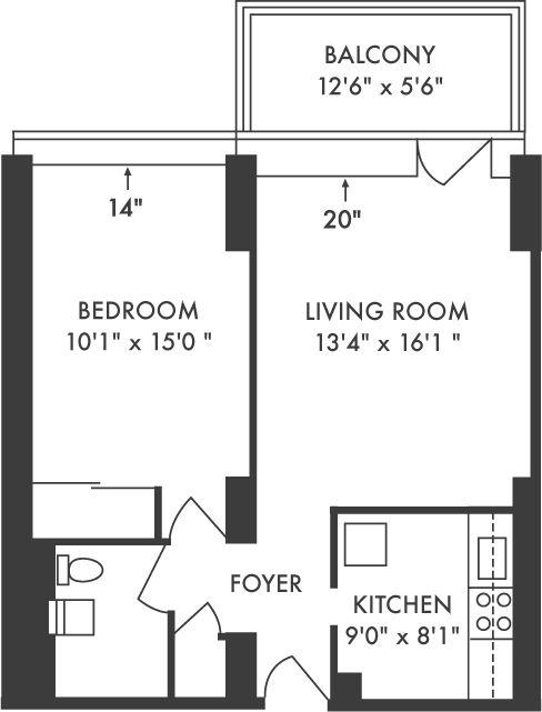 One bedroom apartment 600 sq ft chicago bronzeville for 600 sq ft apartment floor plan