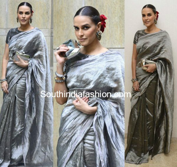 neha dhupia anival silver saree moh maya money trailer launch 600x566 photo