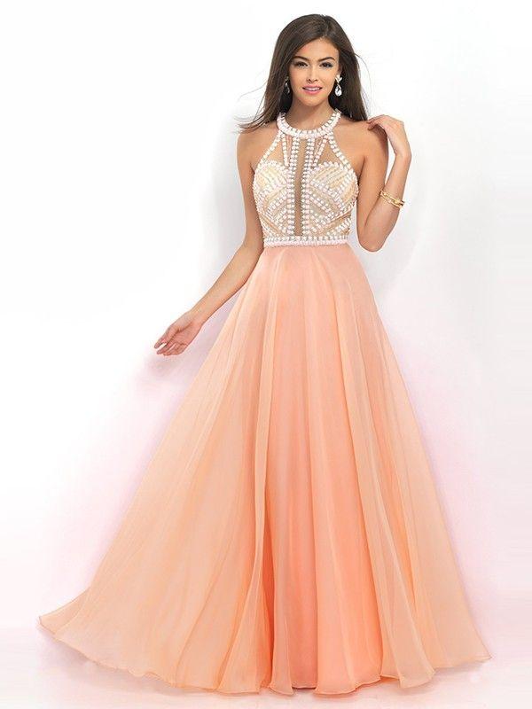 Charming A Line/Princess Sleeveless High Neck Chiffon Beading Floor Length Dresses