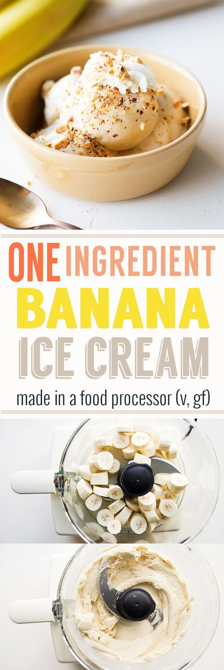 Easy Healthy Banana Ice Cream (vegan, gf). One ingredient only. No machine required. Make this homemade ice cream in a food processor. Recipe from www.theworktop.com. Vegan | Gluten Free | Healthy Dessert | Clean Eating Dessert | Frozen Fruit Recipe | #bananaicecream #homemadeicecream #veganicecream