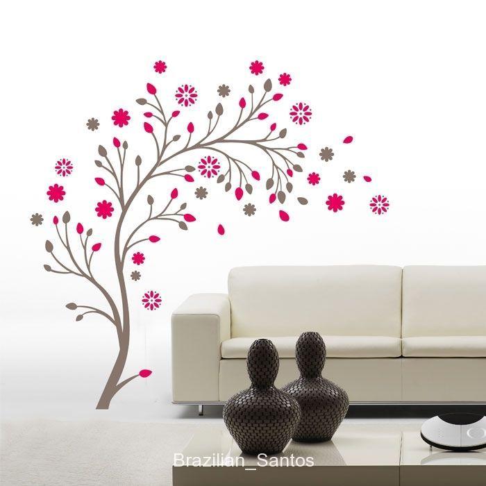 Branche d 39 arbre avec fleurs rouges sticker mural for Autocollant dcoratif mural