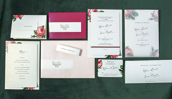 Wedding stationery for 2017. Floral (pink rose and green foliage) invitations, reply card, menu, information sheet and order of service with overlay. Bright and vibrant pretty vintage wedding stationery. Plenty of sunshine and regular watering to ensure a full Bloom. A collection for budding lovers – and warm weather weddings.