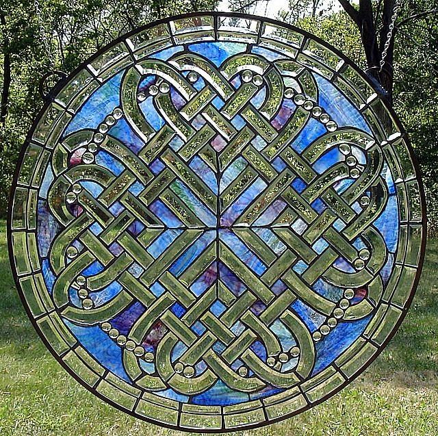 Celtic Hearts of Romance Stained Glass Window