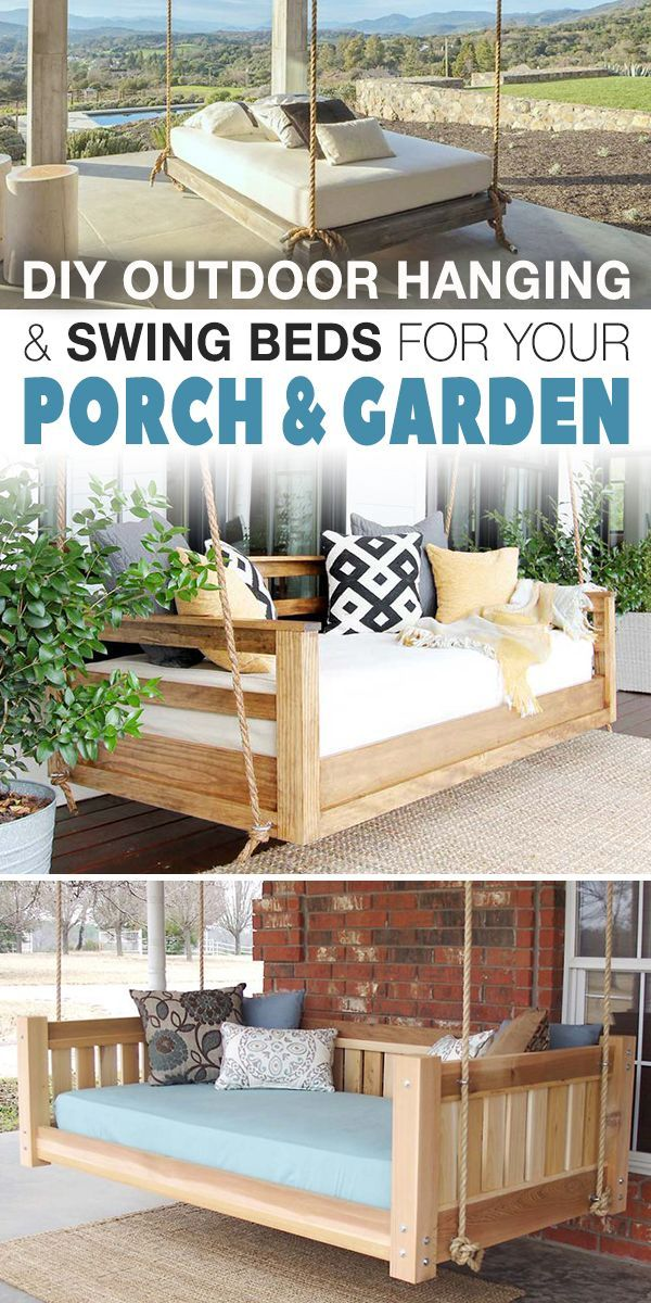 Diy Outdoor Hanging Swing Beds For Your Porch Garden Bed Swing Hanging Beds Outdoor Hanging Bed