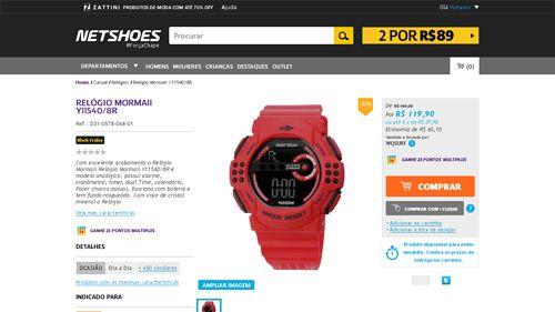 [Netshoes] Relógio Mormaii Y11540 / 8R - Unissex - Y1154023172 - de R$ 126,78 por R$ 119,90 (5% de desconto)
