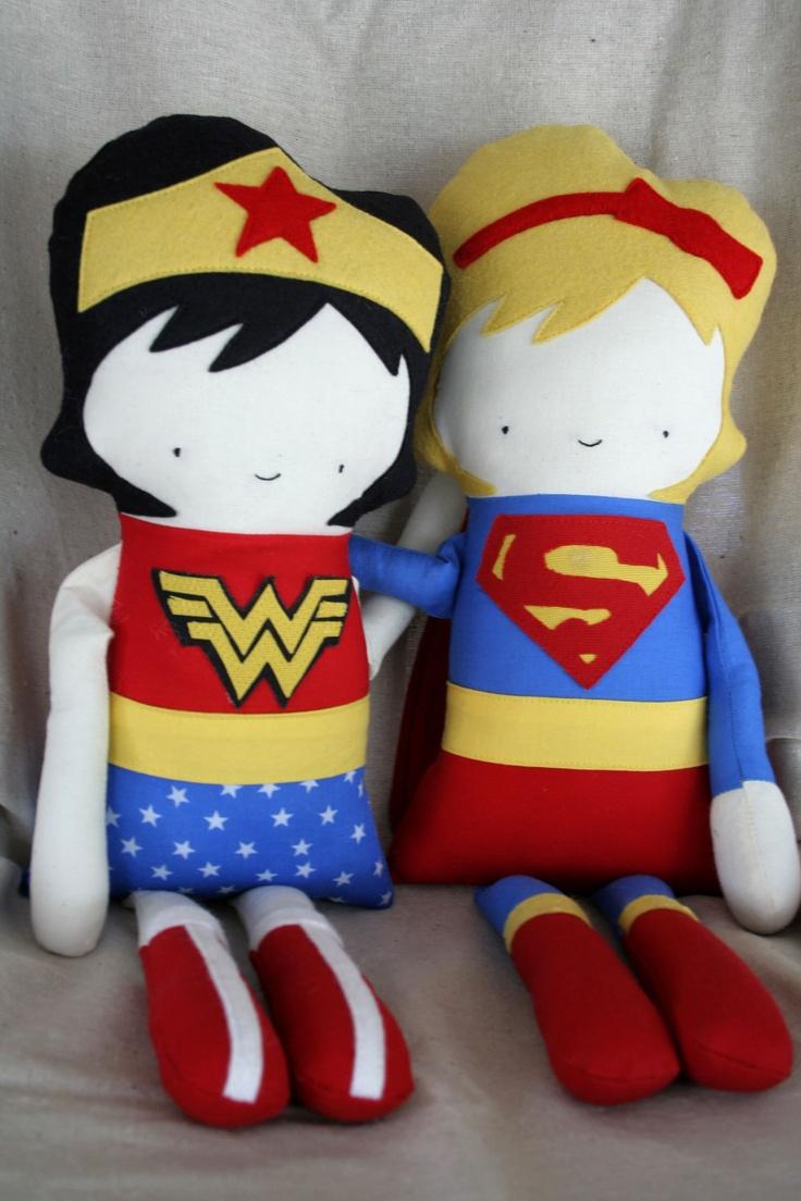Stuffed Doll Rag Doll, Superhero, Supergirl, Superwomen, Fabric Doll, Soft Doll, Handmade Doll, Plush Doll. $82.00, via Etsy.
