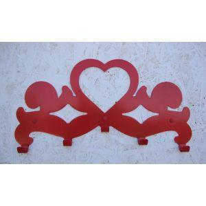 """Dekor artystyczny z motywem serca :) Wieszak z 5 haczykami, w czerwonym kolorze dostępny """"od ręki"""". Zapraszamy www.wieszaj.pl"""