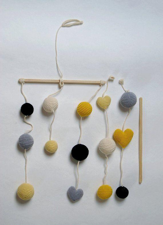 Crochet Ballshearts Baby Mobile Greyyellowblack Balls Mobile5