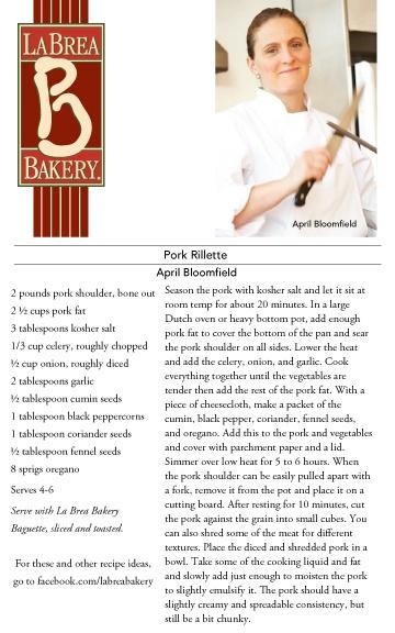 April Bloomfield's recipe for Pork Rillette served on a La Brea Bakery Baguette