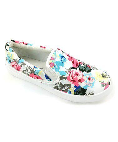 White Floral Slip-On Sneaker #zulily #zulilyfinds